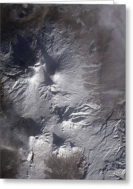 Kizimen Greeting Cards - Satellite View Of Russias Kamchatka Greeting Card by Stocktrek Images