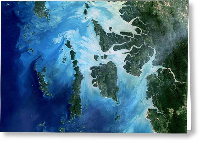 Sea View Greeting Cards - Satellite View Of The Mergui Greeting Card by Stocktrek Images
