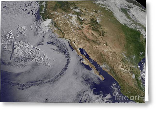 California Ocean Photography Greeting Cards - Satellite View Of The Southern Greeting Card by Stocktrek Images
