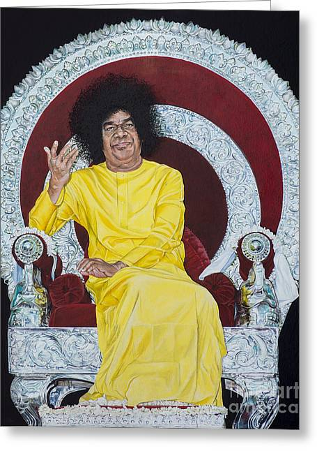 Baba Paintings Greeting Cards - Sathya Sai Baba  Greeting Card by Tim Gainey