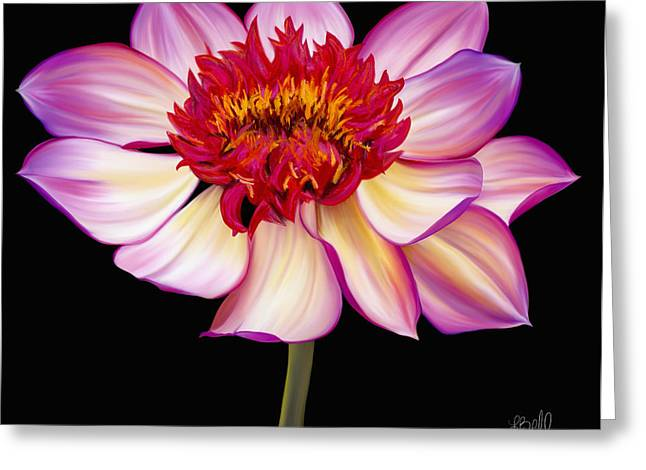 Satin Flames Greeting Card by Laura Bell