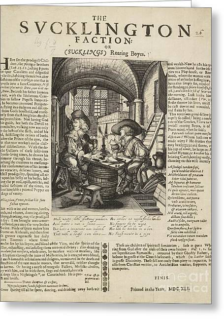 Factions Greeting Cards - Satire On Gluttony, 17th Century Greeting Card by British Library