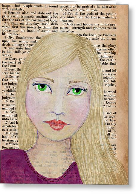 Bible Mixed Media Greeting Cards - Satisfied Greeting Card by Rebekah R Jones
