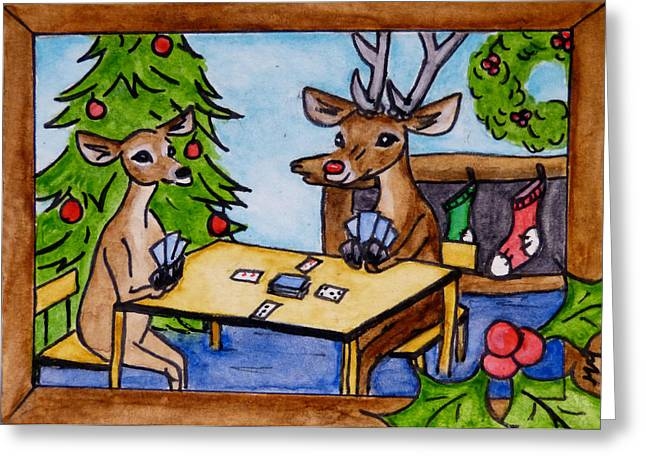Rudolph Greeting Cards - Saturday at Rudolphs Greeting Card by Monique Morin Matson