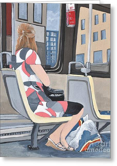 Bus Ride Greeting Cards - Saturday Morning on the 107 Greeting Card by Reb Frost