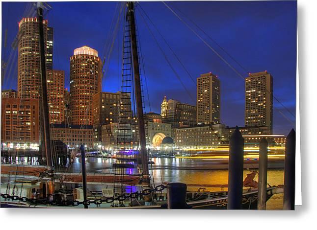 Saturday Night Boston Hustle Greeting Card by Joann Vitali