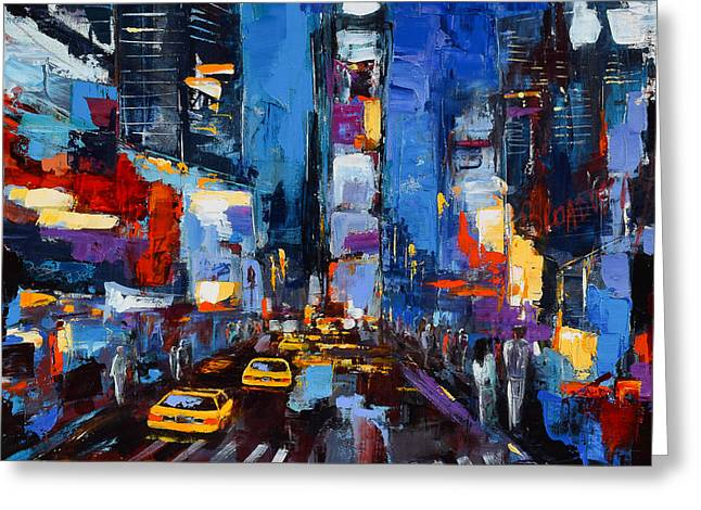 Art In Squares Greeting Cards - Saturday Night in Times Square Greeting Card by Elise Palmigiani