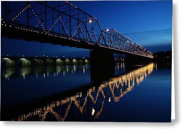"""riverfront Park"" Greeting Cards - Saturday Night Lights Greeting Card by Lori Deiter"