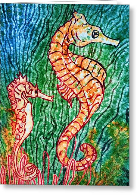 Recently Sold -  - Snorkel Greeting Cards - Saturday Stroll Greeting Card by Kat Walker