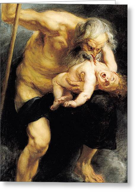 Evil Greeting Cards - Saturn Devouring His Son, 1636 Oil On Canvas Greeting Card by Peter Paul Rubens