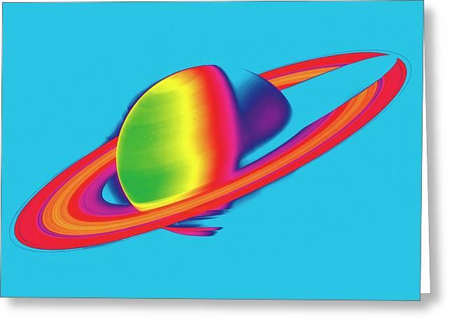Saturn From Space Greeting Card by Detlev Van Ravenswaay