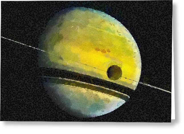 Outer Space Paintings Greeting Cards - Saturn Greeting Card by Magomed Magomedagaev