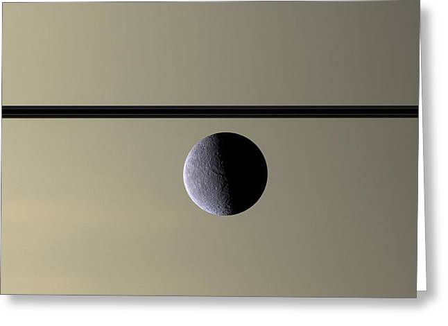 Stellar Greeting Cards - Saturn Rhea Contemporary Abstract Greeting Card by Adam Romanowicz