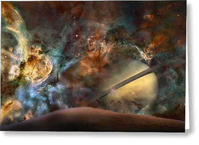 The Planets Greeting Cards - Saturn Rising Greeting Card by Bill  Wakeley
