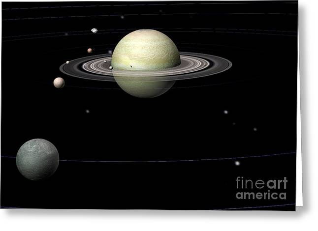 Large Moon Greeting Cards - Saturn  Saturn Greeting Card by Friedrich Saurer