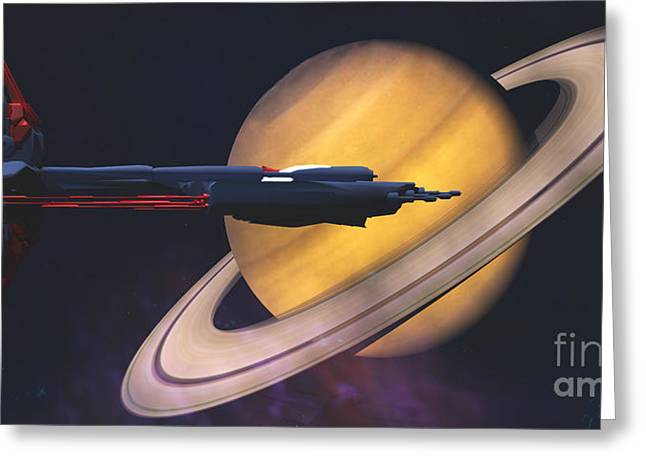 Jet Star Greeting Cards - Saturn Visit Greeting Card by Corey Ford