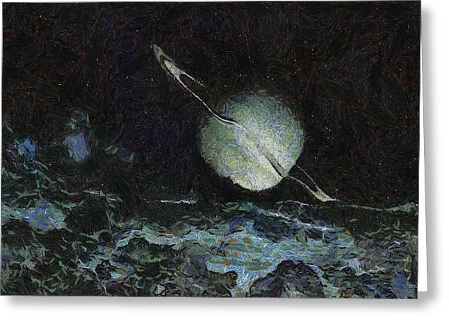 Dark Skies Drawings Greeting Cards - Saturn-y Greeting Card by Ayse Deniz