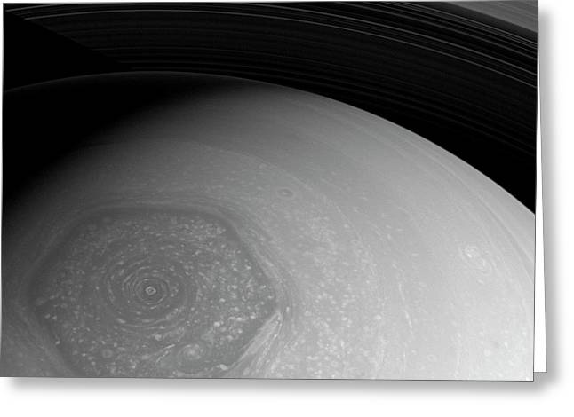 Saturn's Hexagon Greeting Card by Nasa/jpl-caltech/space Science Institute