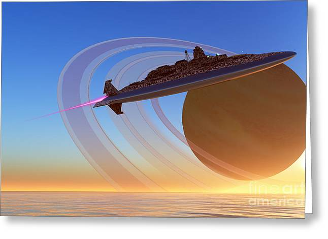 Jet Star Greeting Cards - Saturns Moon Greeting Card by Corey Ford