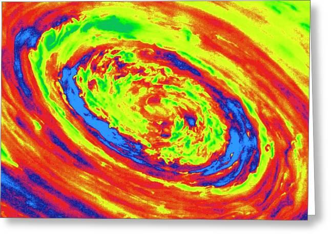 Saturn's Polar Vortex Greeting Card by Detlev Van Ravenswaay