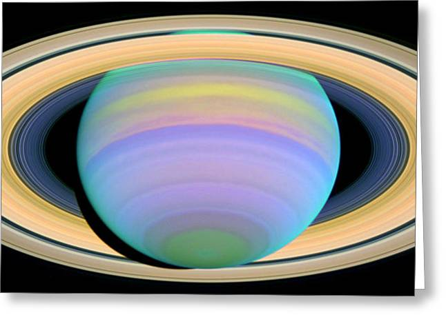 Ultraviolet Greeting Cards - Saturns Rings in Ultraviolet Light Greeting Card by Nasa
