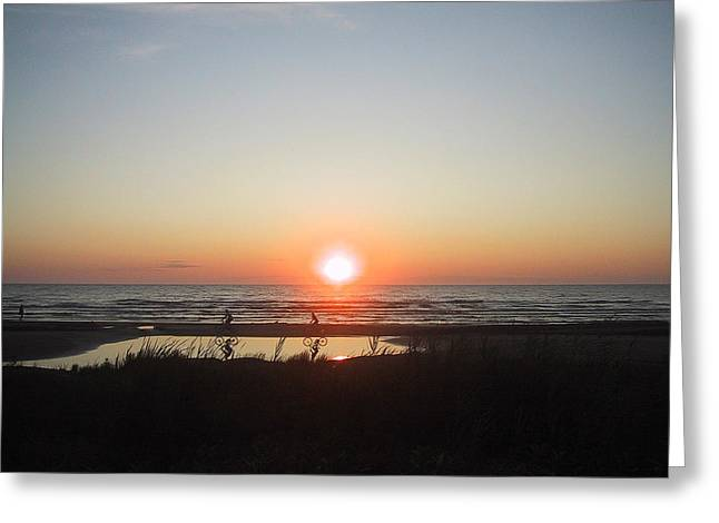Lake Greeting Cards - Sauble Beach North Sunset Greeting Card by Merv Scoble