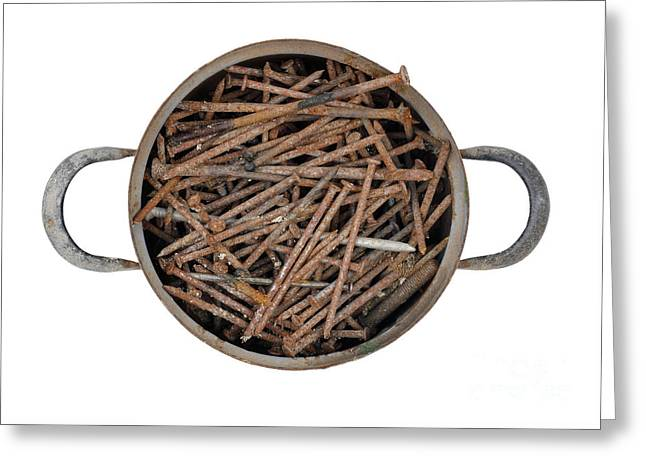 Strong Bouillon - Saucepan Full Of Rusty Nails Greeting Card by Michal Boubin