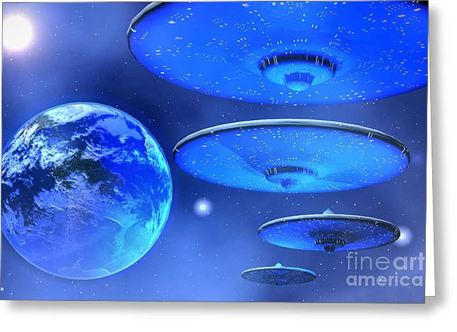 Jet Star Digital Art Greeting Cards - Saucers Greeting Card by Corey Ford