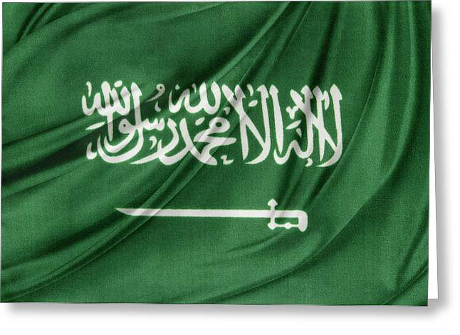 Textile Photographs Greeting Cards - Saudi Arabian flag Greeting Card by Les Cunliffe
