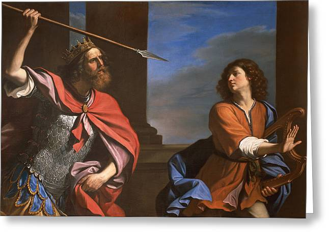 Threat Paintings Greeting Cards - Saul attacking David Greeting Card by Guercino