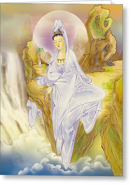 Kuan Greeting Cards - Sault-witnessing Kuan Yin Greeting Card by Lanjee Chee