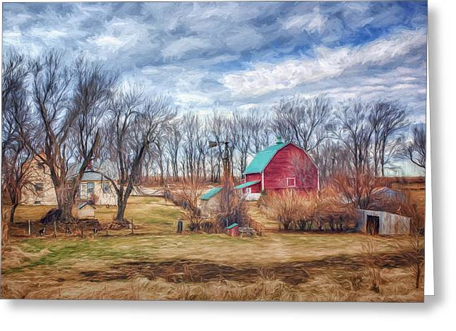 Outbuildings Greeting Cards - Saunders County Farm 1 Greeting Card by Nikolyn McDonald