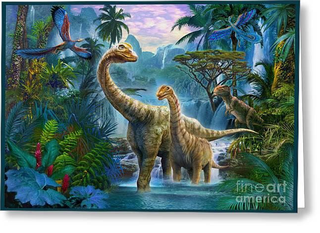 Rex Greeting Cards - Sauropods II Greeting Card by Jan Patrik Krasny