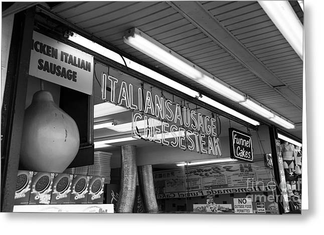 Seaside Heights Greeting Cards - Sausage and Cheese Steak mono Greeting Card by John Rizzuto