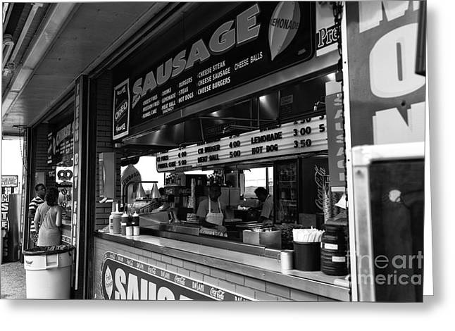 Seaside Heights Greeting Cards - Sausage on the Boardwalk mono Greeting Card by John Rizzuto