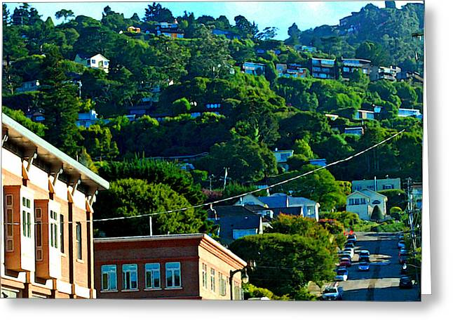 Sausalito Digital Greeting Cards - Sausalito California Downtown Greeting Card by DeAnna Denise Adams