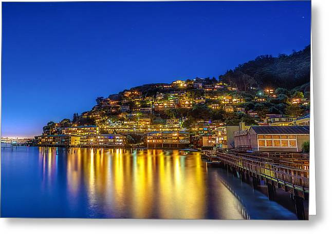 Sausalito Digital Greeting Cards - Sausalito Evening Reflections Greeting Card by Michael Filippoff