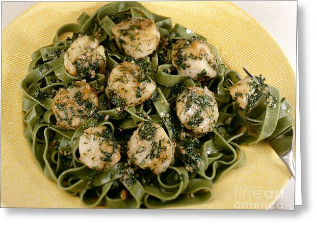 Noodles Greeting Cards - Sauteed Scallops on Spinach Noodles Greeting Card by Iris Richardson