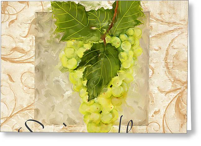 Riesling Greeting Cards - Sauvignon Blanc II Greeting Card by Lourry Legarde