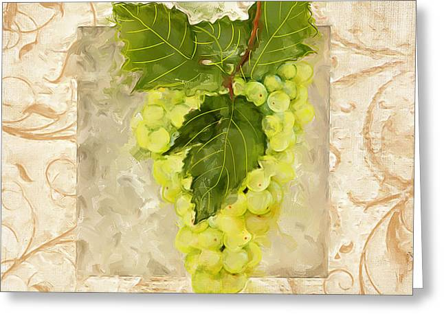 Purple Grapes Paintings Greeting Cards - Sauvignon Blanc Greeting Card by Lourry Legarde