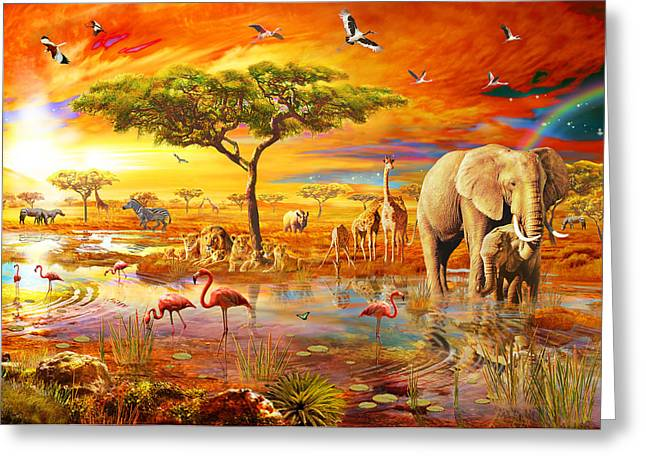 Coloured Photographs Greeting Cards - Savanna Pool Greeting Card by Adrian Chesterman