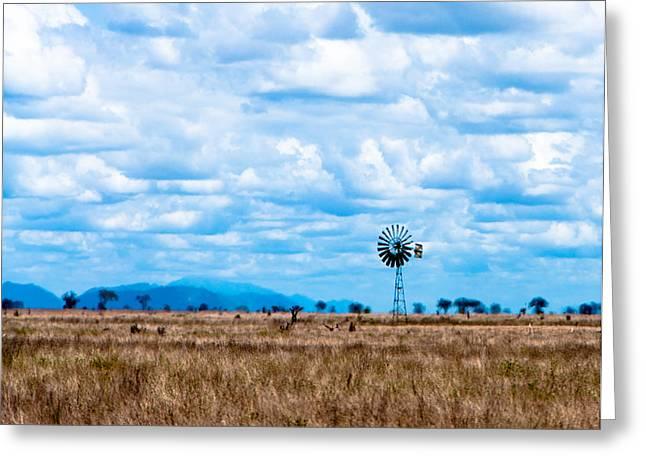 Generators Greeting Cards - Savanna Windmill Greeting Card by Alex Hiemstra