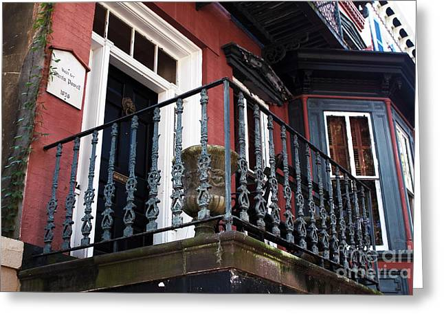 Red Buildings Greeting Cards - Savannah Balcony Greeting Card by John Rizzuto