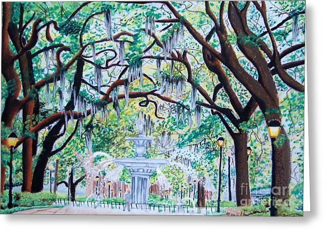 Moss Pastels Greeting Cards - Savannah Greeting Card by Bill De Barber