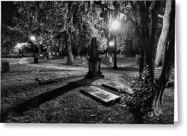 Night Lamp Greeting Cards - Savannah - Bonaventure Cemetery 002 Greeting Card by Lance Vaughn