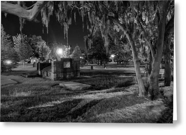 Night Lamp Photographs Greeting Cards - Savannah - Bonaventure Cemetery 003 Greeting Card by Lance Vaughn