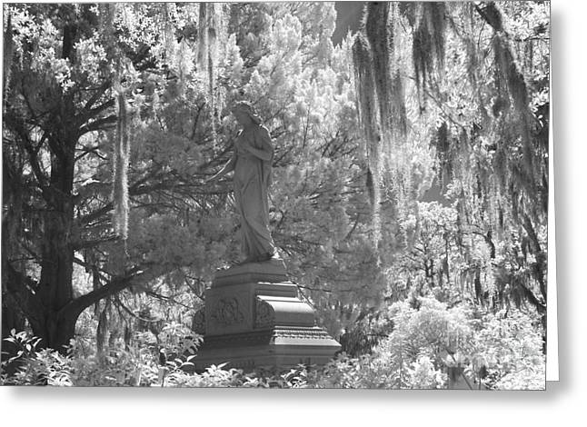 Infrared Fine Art Greeting Cards - Savannah Bonaventure Cemetery Black and White Angel Monument With Hanging Spanish Moss Greeting Card by Kathy Fornal