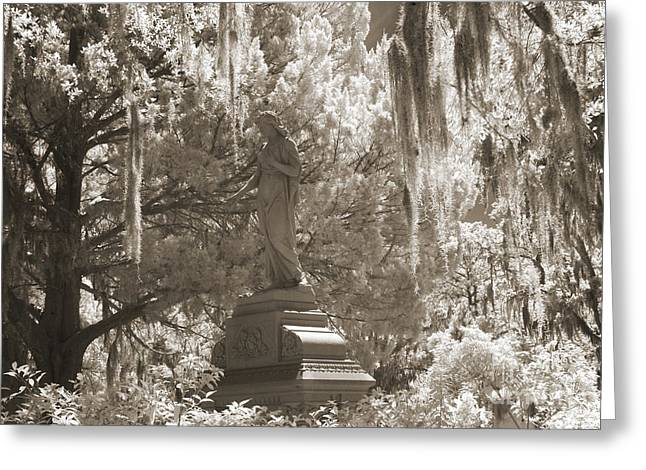 Surreal Infrared Photos By Kathy Fornal. Infrared Greeting Cards - Savannah Bonaventure Cemetery Sepia Angel Monument With Hanging Spanish Moss Greeting Card by Kathy Fornal