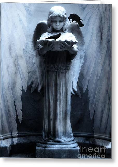 Sculpture Art Greeting Cards - Savannah Bonaventure Spooky Angel With Ravens Greeting Card by Kathy Fornal
