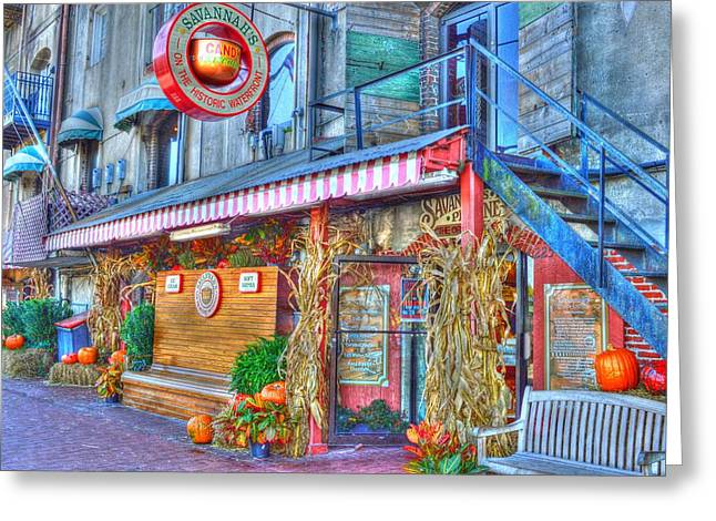 Store Fronts Greeting Cards - Savannah candy shop painted Greeting Card by Linda Covino